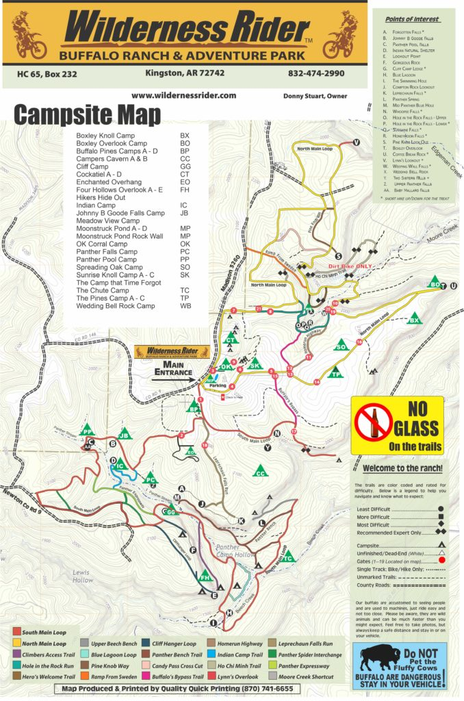 Wilderness Rider Buffalo Ranch Campsite Map