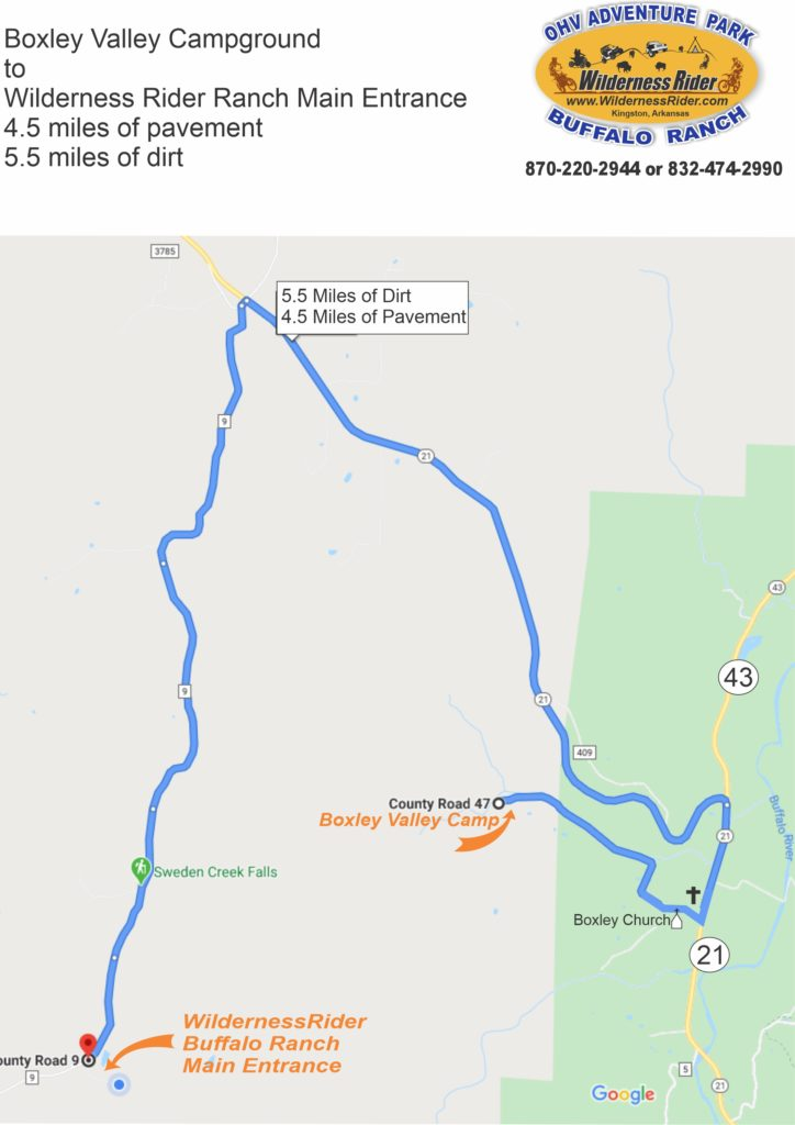 Road map between the 2 Wilderness Rider Campgrounds